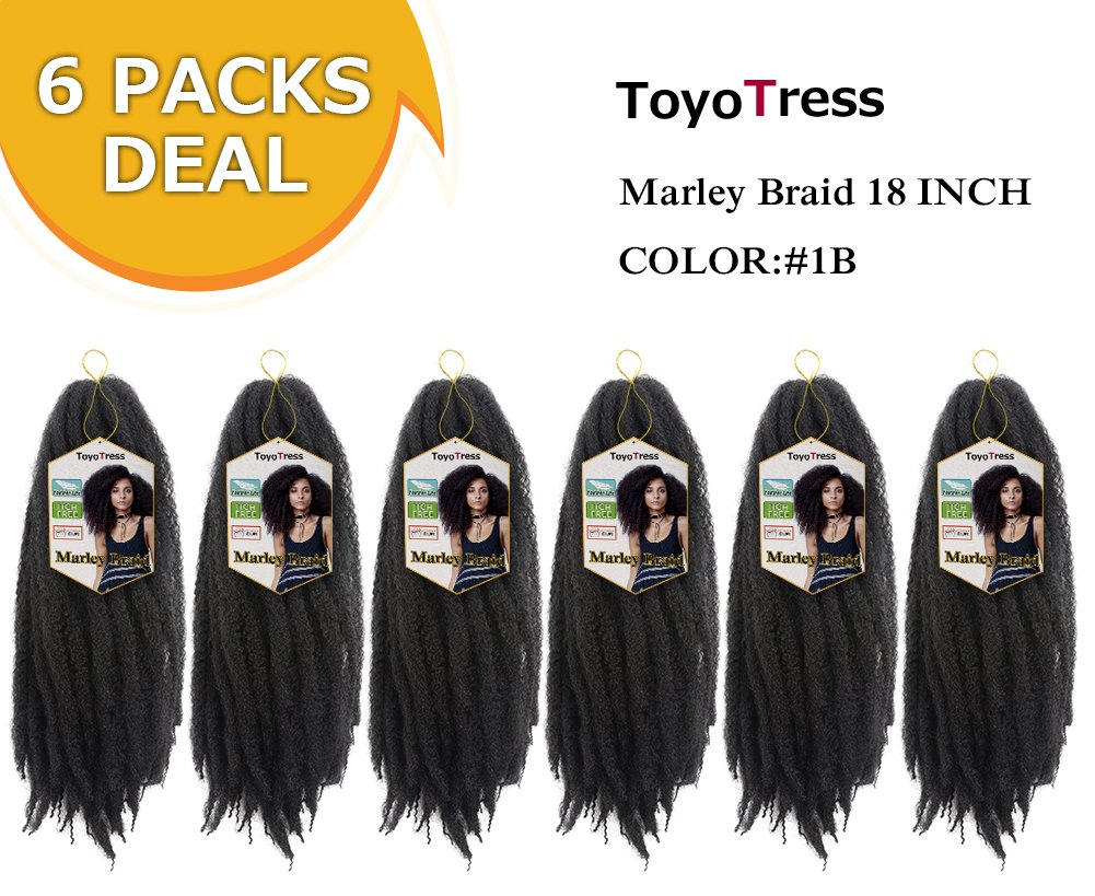 Toyo Tress Marley Hair For Twists 18 Inch 6packs Long Afro Marley Braid Hair 100% Kanekalon Synthetic Fiber Marley Braiding Hair Extensions (18'', 1B) by ToyoTress