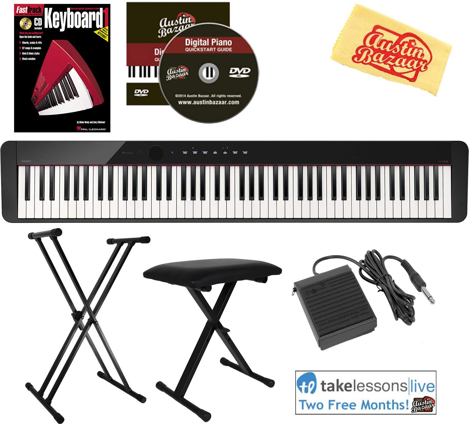Casio Privia PX-S1000 Digital Piano - Black Bundle with Adjustable Stand, Bench, Sustain Pedal, Instructional Book, Online Lessons, Austin Bazaar Instructional DVD, and Polishing Cloth by Casio