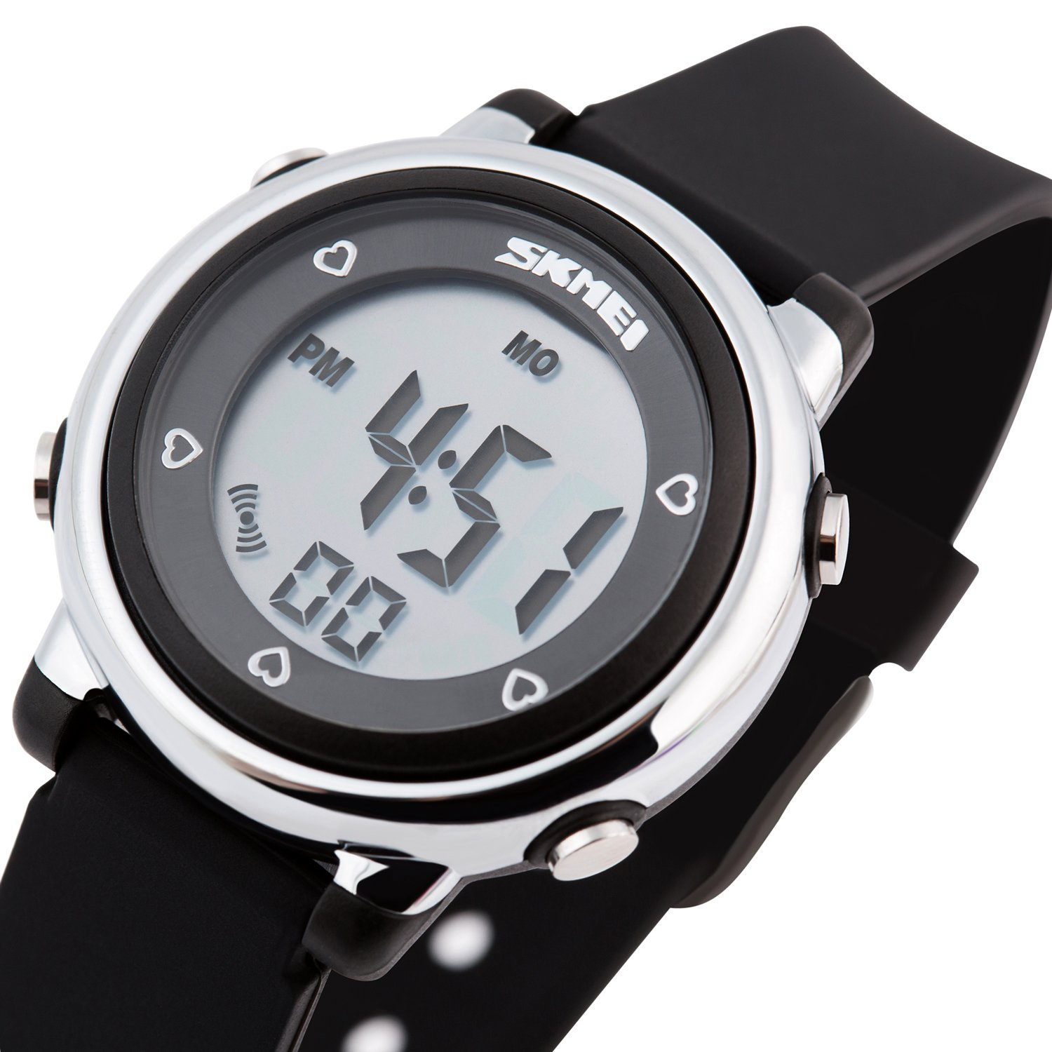 Better line Digital Kids Watch Band with Hourly Chime, Stopwatch, Daily Alarm & Calendar, Water Resistant 30M (Black)