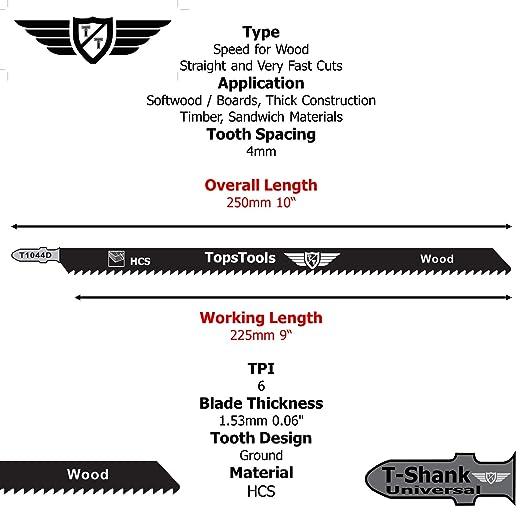 250 mm, para Bosch, Dewalt, Makita, Milwaukee, 5 unidades TopsTools JSTT1044D T1044D Cuchillas para sierra de calar