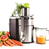 Duronic JE10 Powerful 1000W Large Feeding Tubed Whole Fruit Centrifugal Power Fruit and Vegetable Juicer with Jug - 2 Years Free Warranty - Juicer machine to make delicious apple / orange / carrot juicer and more