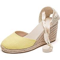 SimpleC Alpargatas con tacón de cuña de Denim clásico para Mujer con Tiras con Cordones, Sandalias de Mezclilla de…