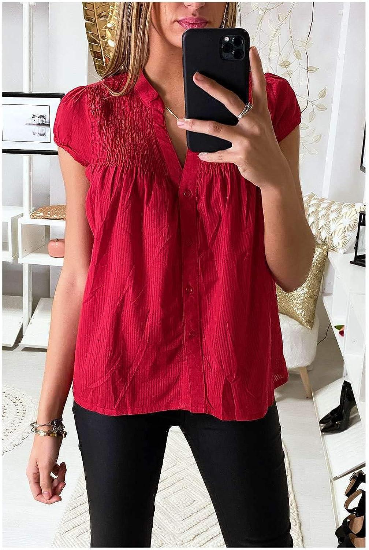Miss Wear Line - Blusa Ligera de Manga Corta y Cuello alargador (L-4/3-14510), Color Rojo Rojo S: Amazon.es: Ropa y accesorios