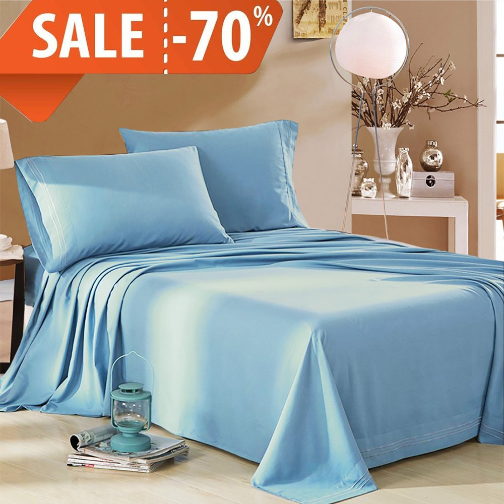 MELODIE DIRECT 4 Piece Bed Sheets Set (Queen,Baby Blue) 1 Flat Sheet,1 Fitted Sheet and 2 Pillow Cases,100% Brushed Microfiber 1800 Luxury Bedding,Deep Pockets,Wrinkle & Fade Resistant