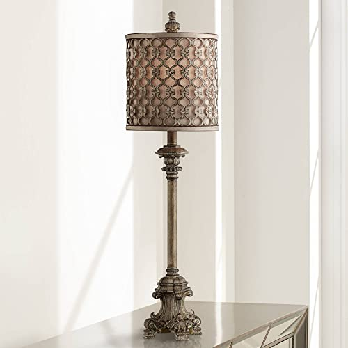 French Buffet Table Lamp Beige Scroll Metal Lattice Candlestick Framed Cylinder Shade for Dining Room – Regency Hill