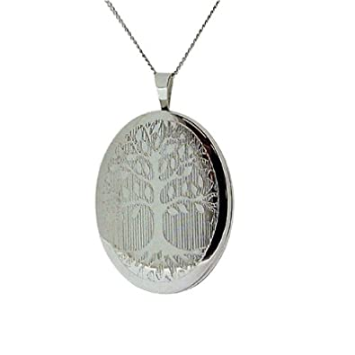 TOC Sterling Silver Tree Of Life Oval Locket 20mm Necklace 18 o6x0YA
