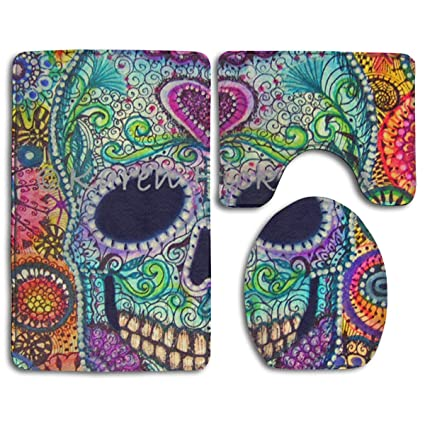 S Bathroom Anti-Skid Pad Dead Sugar Skull Wallpaper A Set of Toilet Rug Mat Lid Cover: Home & Kitchen