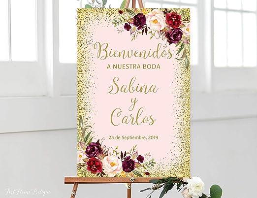 Dozili Bienvenidos a Nuestra Boda - Cartel de Boda con Texto ...