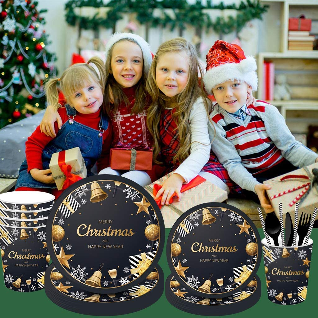 Serves 16 Christmas Party Disposable Tableware Set with Black and Gold Merry Christmas Plates Straws Cups balloons for Christmas Themed Party Dinnerware 161PCS Christmas Party Supplies Napkins