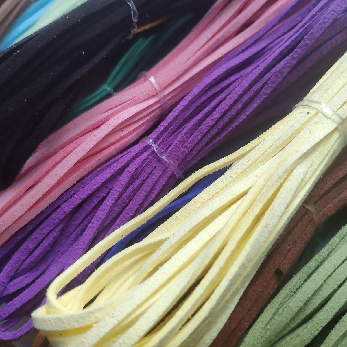 Misscrafts 3mm Flat Leather Beading Cords Faux Suede Cord Threads Multicolor 5.4 Yard Lace Velvet Beading String Jewelry Making Supply