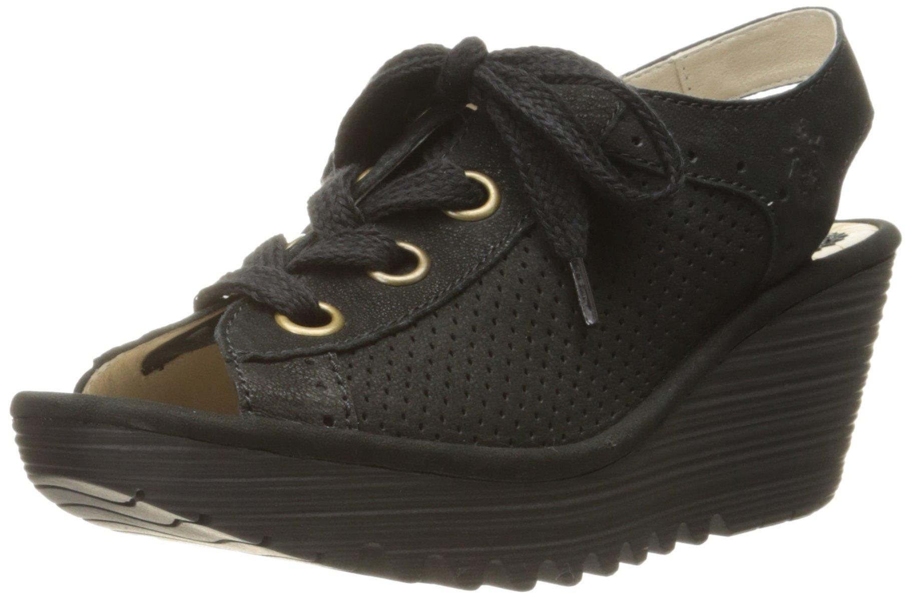 FLY London Women's YUTA617FLY Platform Sandal, black Cupido, 38 EU/7.5-8 M US