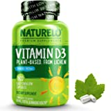 NATURELO Vitamin D - 2500 IU - Plant Based - from Lichen - Natural D3 Supplement for Immune System, Bone Support, Joint…