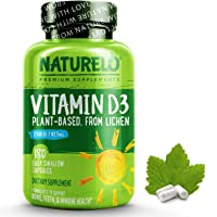 NATURELO Vitamin D - 2500 IU - Plant Based - from Lichen - Best Natural D3 Supplement for Immune System, Bone Support…
