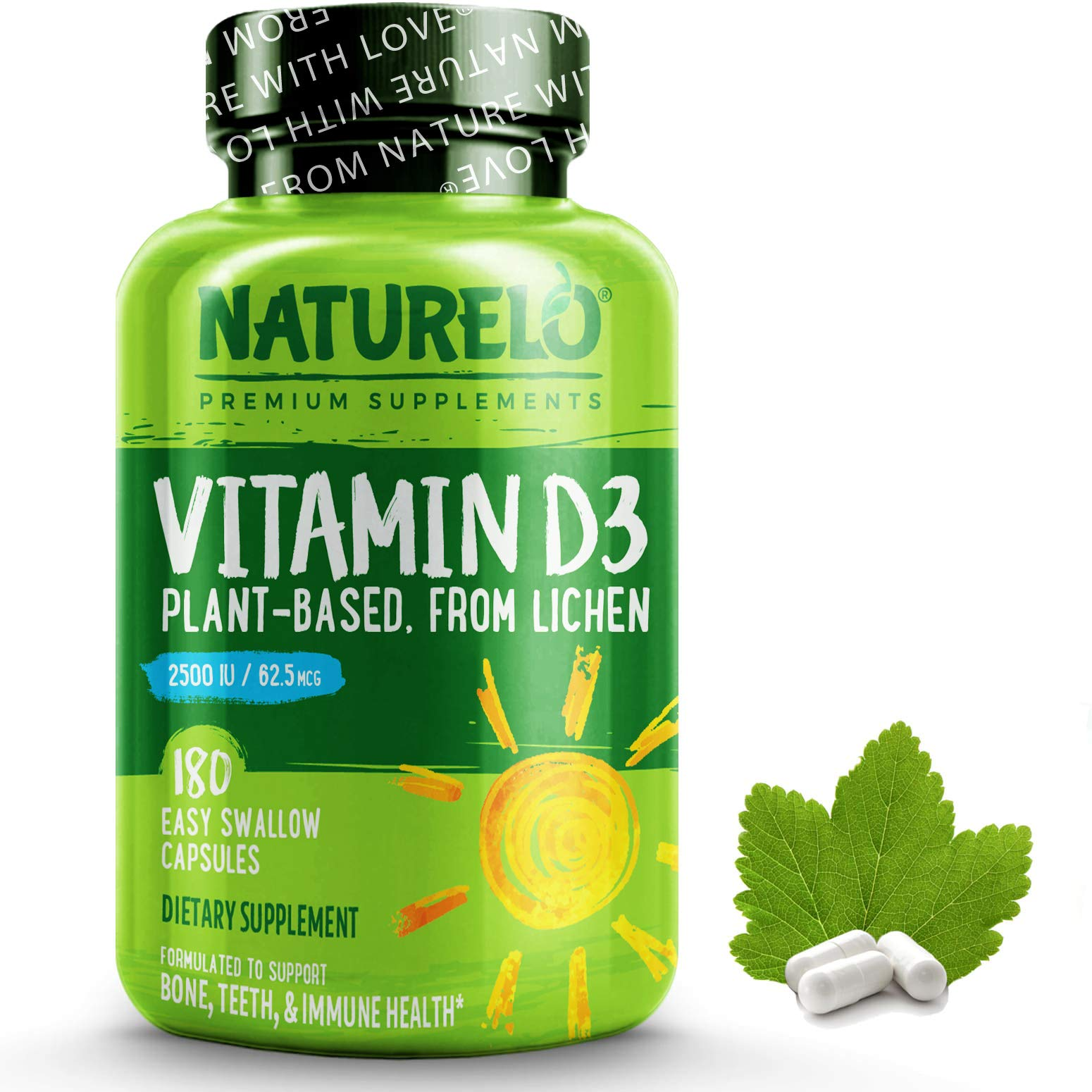 NATURELO Vitamin D - 2500 IU (62.5mcg) - Plant Based from Lichen - Natural D3 Supplement for Immune System, Bone Support, Joint Health - Non-GMO Gluten-Free - 180 Vegan Mini Capsules | 6 Month Supply