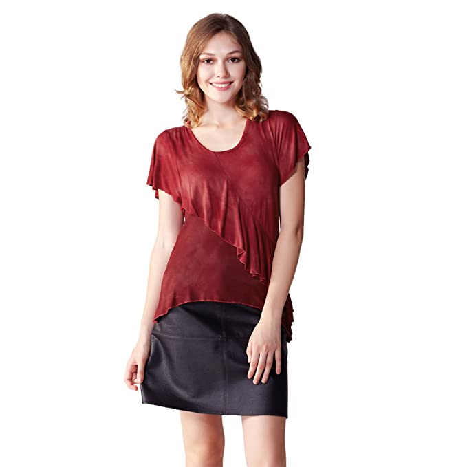 48a5a065e43 Image Unavailable. Image not available for. Color  OneWorld Short Sleeve  Scoop Neck Two Ruffle Layer Wrap Sexy Summer Tops for Ladies and Women