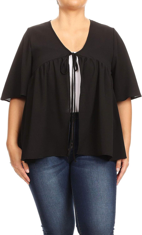 Romwe Womens Plus Size Casual Ruffle Short Sleeve Contrast Binding Tee Tops Blouse