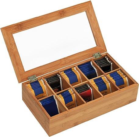 Kesper 50901 - Caja de bambú para Bolsas de té (10 Compartimentos, 36 x 20 x 9 cm): Amazon.es: Hogar