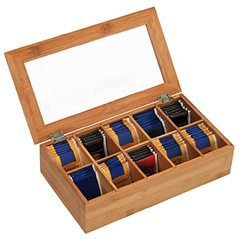 Kesper 50901 - Caja de bambú para bolsas de té (10 compartimentos, 36 x
