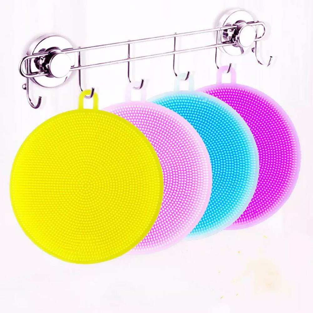 Silicone Dish Sponge Washing Brush Scrubber 2 Pack Household Cleaning Sponges, Scouring Pad silicone dish sponge Kitchen Pot Cleaner For Wash Fruit and Vegetable ,4 Pack by Ochioly
