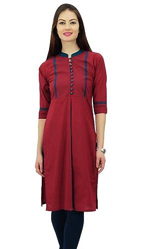 Phagun Mujeres sólido patrón Collar del mandarín recta Kurti diseñador Alineada étnica India
