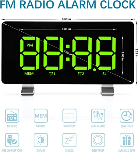 Alarm Clocks 2020 New Version for Bedrooms with FM Radio, Dual Alarms, 6.7 LED Screen, USB Port for Charging, 4 Brightness, 12 24H, Automatic Dimmer, Digital Alarm Clock for Snooze Kitchen Office