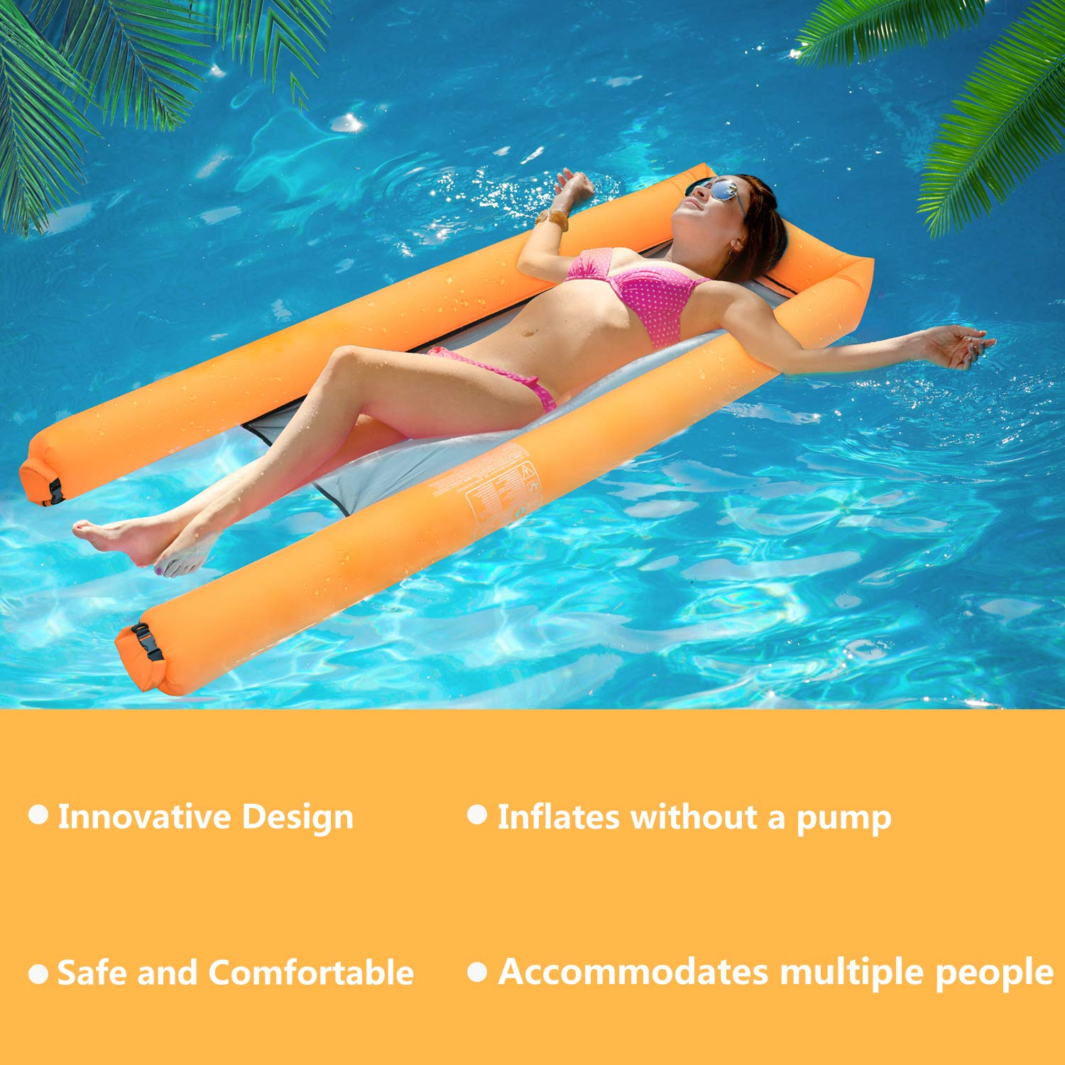 Fansport Inflatable Pool Floats Portable Floating Lounger Chair Water Hammock for Adults & Kids【2019 Upgraded】 440lb Capacity No Leak Ripstop Fabric Fast Inflated No Pump Needed with Compact Carry Bag
