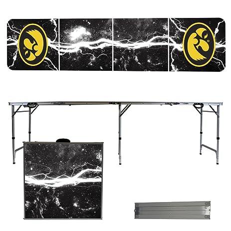 Iowa Hawkeyes 8 Foot Portable Folding Tailgate Table Lightning Version