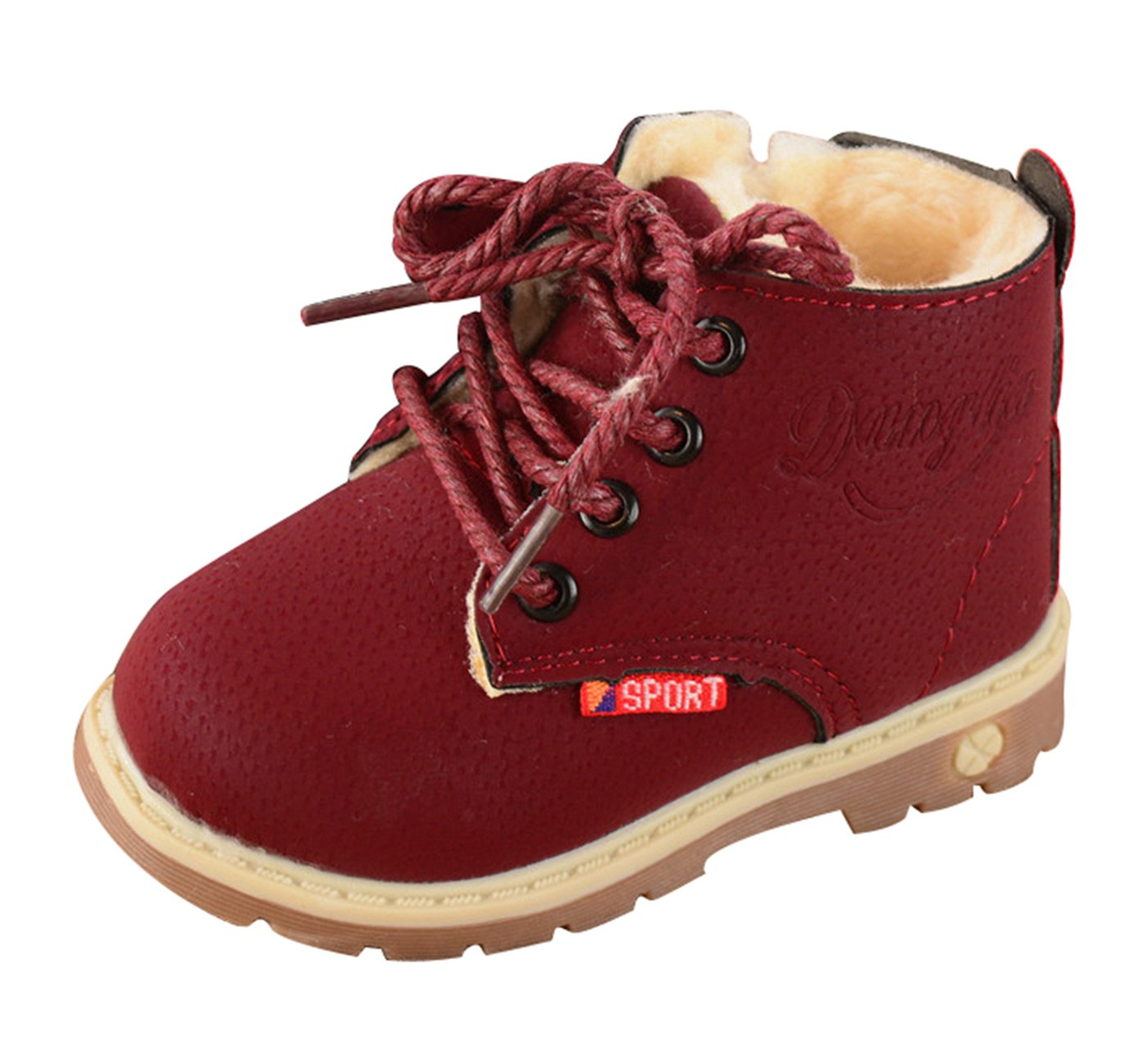Happy Cherry Girls Boys Army Style Martin Boot Plush Leather Shoes Winter Warm Casual Shoes Vintage Antislip Fur Lined Short Martin Ankle Boots Wine Red Size 25