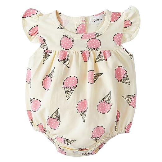 1c1f7031537e Amazon.com  BOBORA Toddler Baby Girls Romper Bodysuit Ice Cram Cone ...