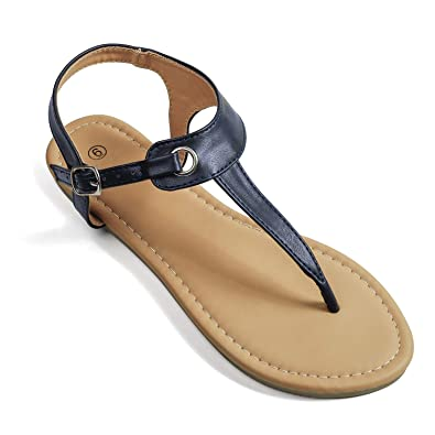 2444747a2 Soles   Souls Flat T-Strap Thong Sandal for Women Navy Blue 05