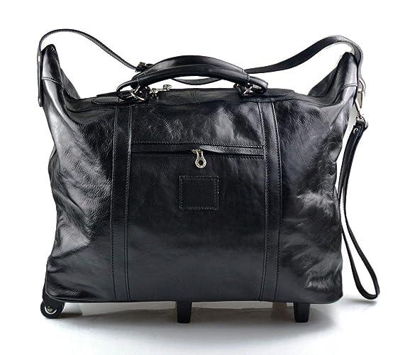 Maleta de cuero bolso de viaje negro con ruedas bolso hombre bolso de cuero bolso mujer