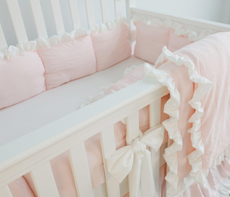 Pink Ruffle Crib Bedding Set Baby Girl Bedding Blanket Nursery Crib Skirt Set Baby Girl Crib Bedding Sheet Pink, 3pcs Set No Bumper