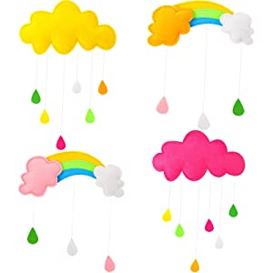 Rainbow Baby Crib Mobile Cloud Ceiling Crib Mobile Raindrop Felt Ceiling Hanging Decorations Kids Room Mobile Hanging Decor for Nursery Kindergarten Bedroom Baby Shower Party Supplies