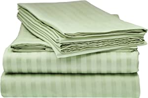 ITALIAN Collection STRIPED 4PC QUEEN Sheet Set, Sage Green