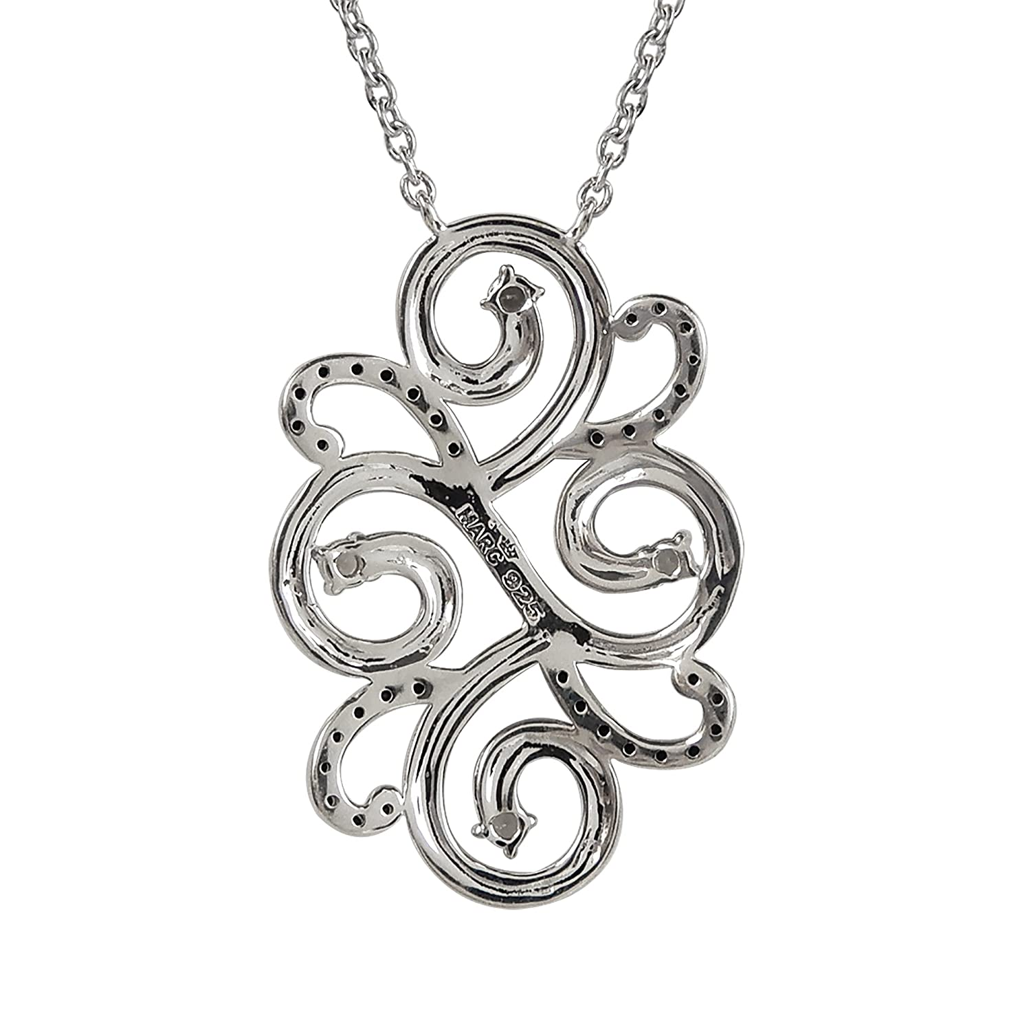 Aura by TJM Sterling Silver 0.10 cts Semi Smokey Quartz /& Micropave 0.20 cts Black Spinel /& Marcasite Swirl Pendant 18