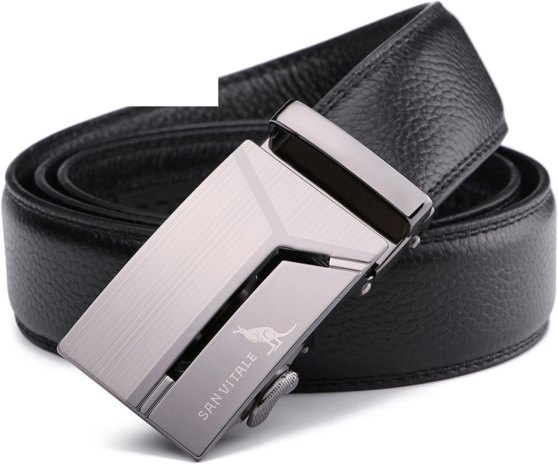 SAN VITALE 100/% Cowhide Genuine Leather Belts for Men Brand Strap Male Pin Buckl