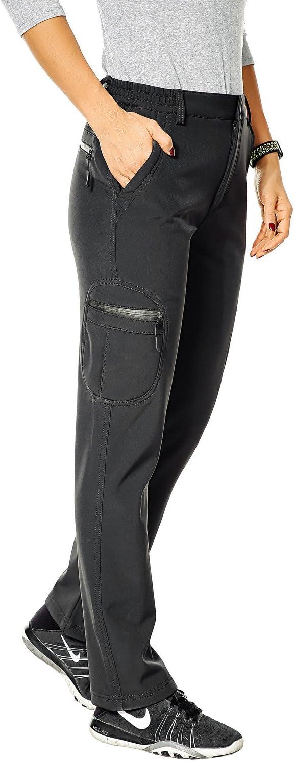 Nonwe Womens Outdoor Water-Resistant Fleece Lined Hiking Cargo Snow Pants