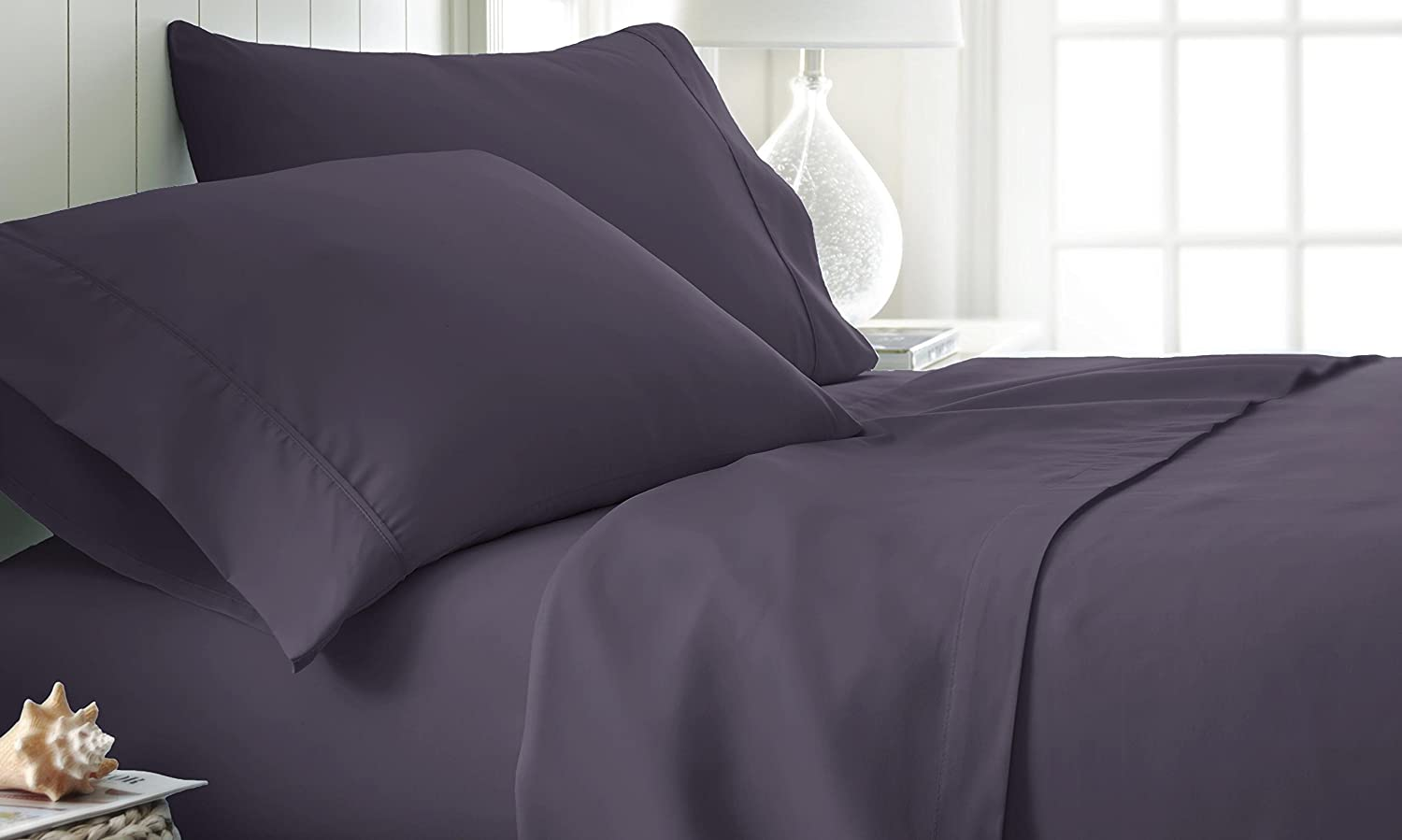 ienjoy Home Hotel Collection Luxury Soft Brushed Bed Sheet Set - Cal King - Purple