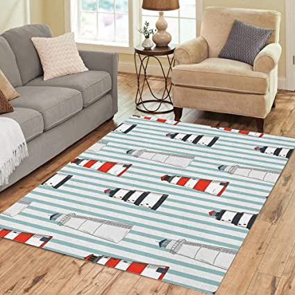 Semtomn Area Rug 5 X 7 Blue Abstract Pattern Different Lighthouses Stripped Red Beach Boat Home Decor Collection Floor Rugs Carpet For Living Room Bedroom Dining Room Amazon Co Uk Kitchen Home