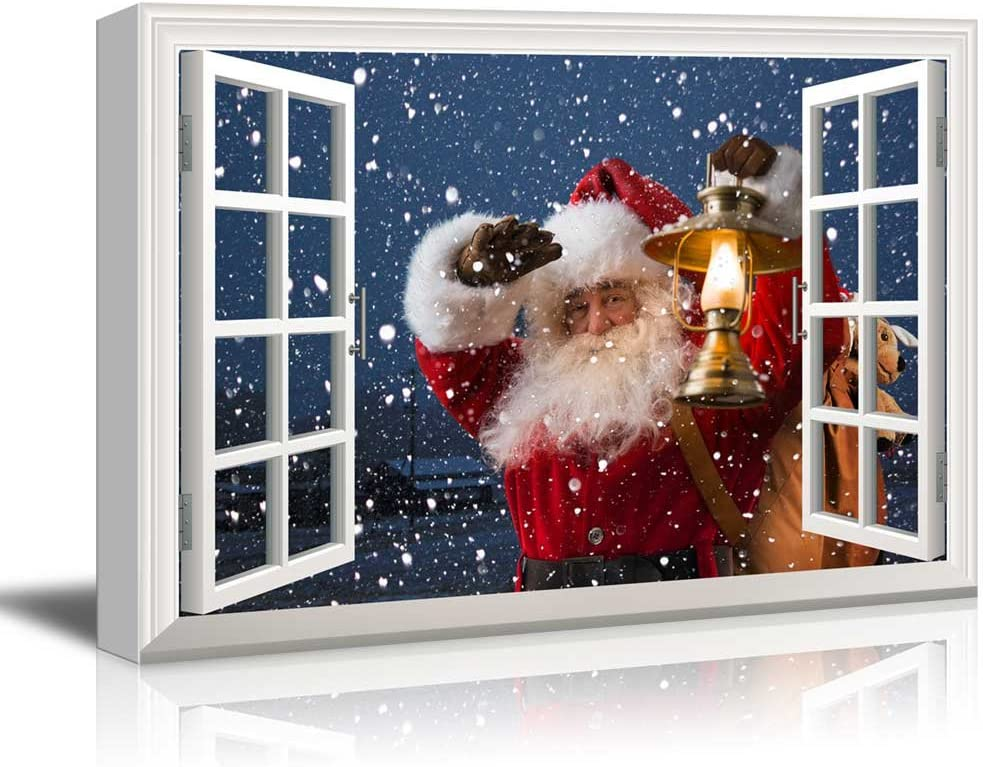 """wall26 - Canvas Print Wall Art - Window Frame Style Wall Art - Santa Claus Carrying Gifts Coming on Christmas Eve   Giclee Print Modern Home Decor. Stretched & Ready to Hang - 24"""" x 36"""""""