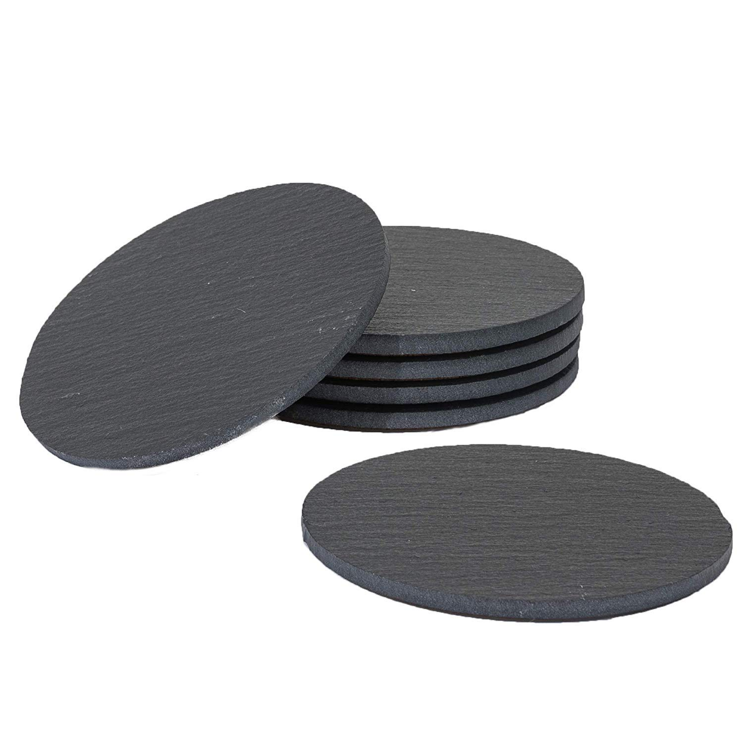 Sona Home Premium Functional Slate Coasters (Set of 6) | Round Black Coasters with Absorbent Top Surface & Non-Slip Cork Bottom | Stylish Stone Coasters for All Types of Glasses & Mugs | 11cm/4.3''