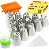 DILISS Russian Piping Tips 27-Pcs Set (15 Russian Tips 10 Disposable Pastry Bags 1 Tri-Color Coupler & 1 Reusable Silicone Pastry Bag)
