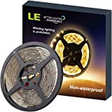 LE 12V LED Strip Light, Flexible, SMD 2835, 16.4ft Tape Light for Home, Kitchen, Party, Christmas and More, Non-waterproof, Warm White