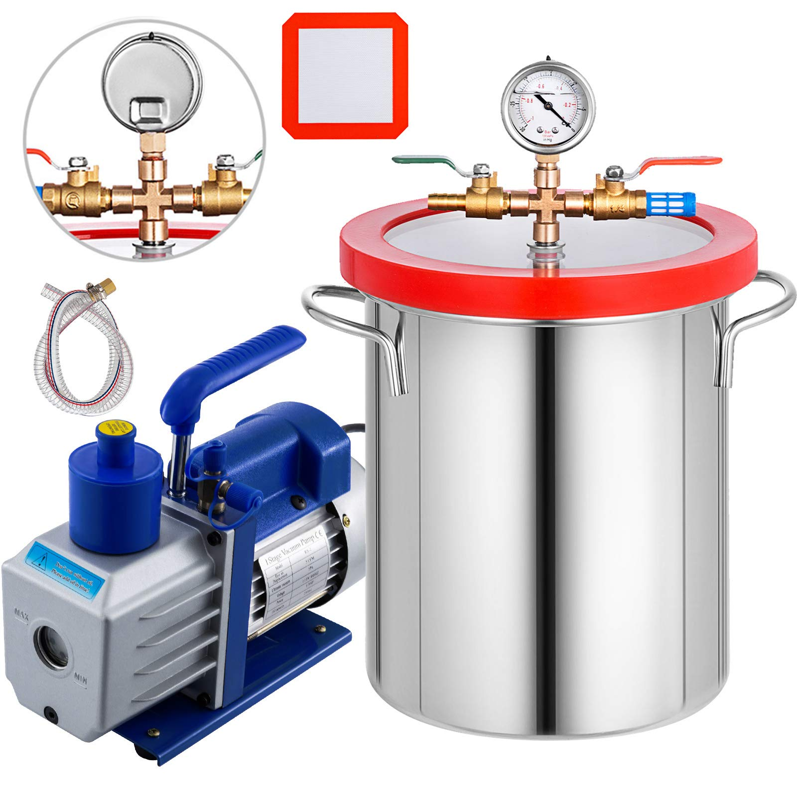 Bestauto 3 Gallon Vacuum Degassing Chamber Stainless Steel Degassing Chmaber 12L Vacuum Chamber Kit with 5CFM 1/3HP Single Stage Vacuum Pump(5CFM Vacuum Pump + 3 Gallon Vacuum Chamber) by Best In Auto