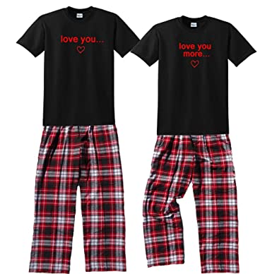 316645a9a9d6 Amazon.com  Love You   Love You More Couples Matching Fun Pajamas ...
