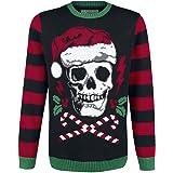 Heavy Christmas Devil Horns Skull Santa Hat Ugly Design Sweatshirt