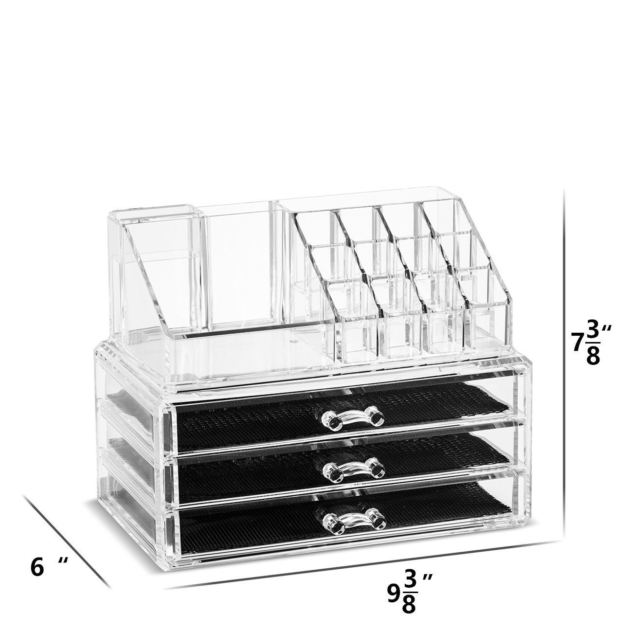 Unique Home 5 Piece Set Acrylic Jewelry Cosmetic Storage Makeup Organizer XX-Large, Clear