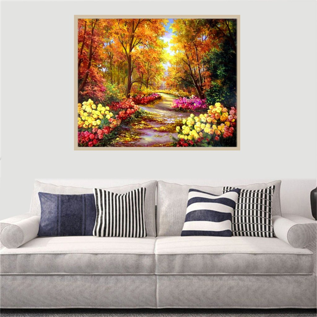 Large 5D Diamond Painting Kits for Adults Full Drill 20x16Inch Crystal Embroidery Dotz Home Wall Decor Countryside Scenery by TOCARE, Landscape Blossom
