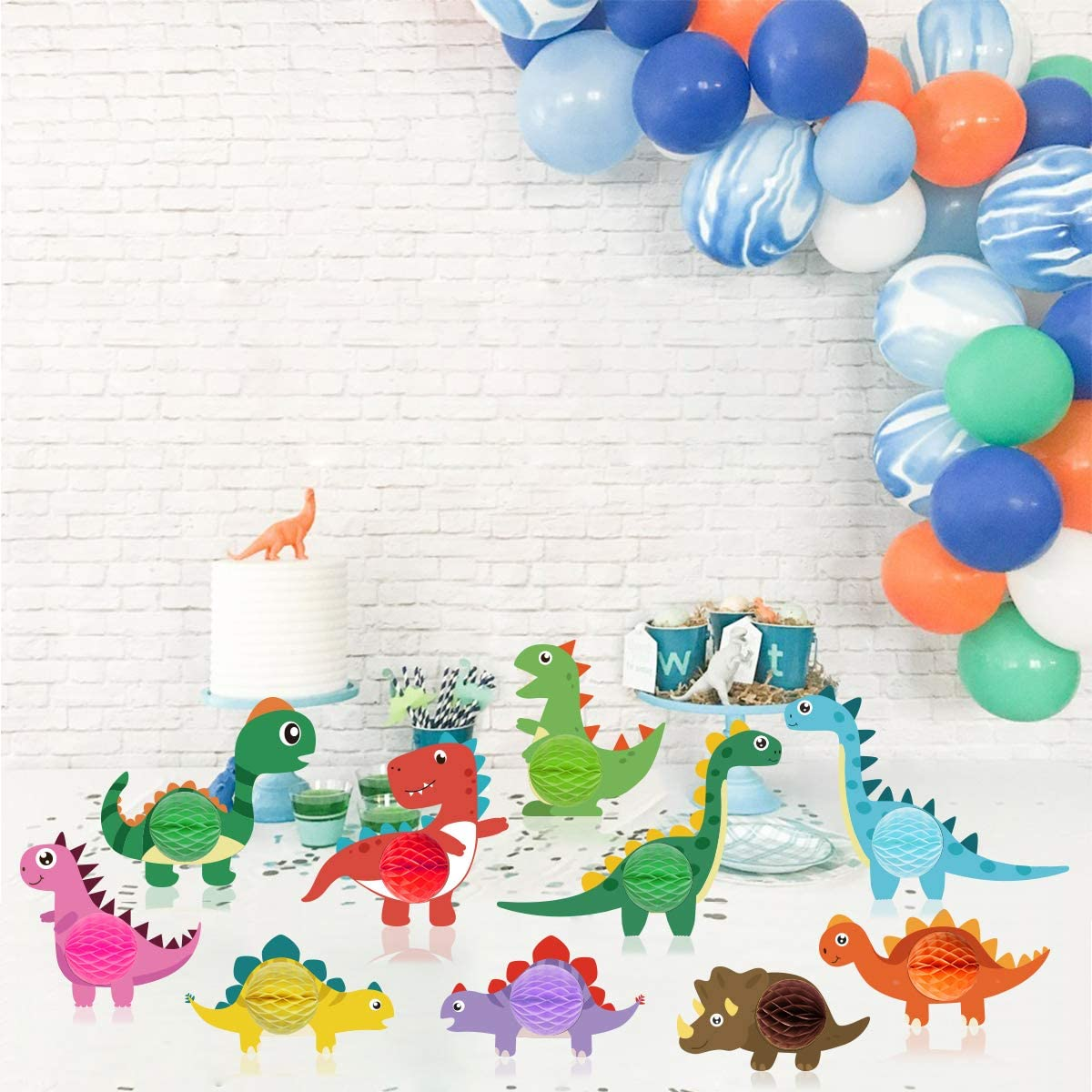 10 Pcs Dinosaur Honeycomb Centerpieces Table Topper for Party Decorations Cute Dinosaur Birthday Party Decorations Supplies For Boys Kids