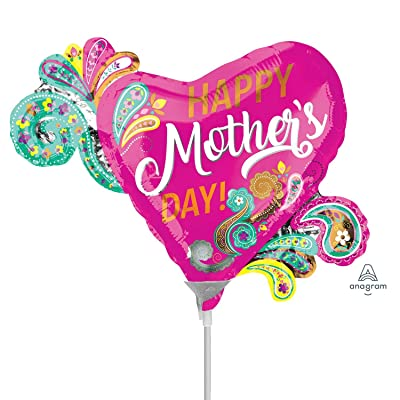 amscan 3707102 Happy Mother's Day Foil Balloons MiniShape Paisley-A15-1 Pc: Toys & Games